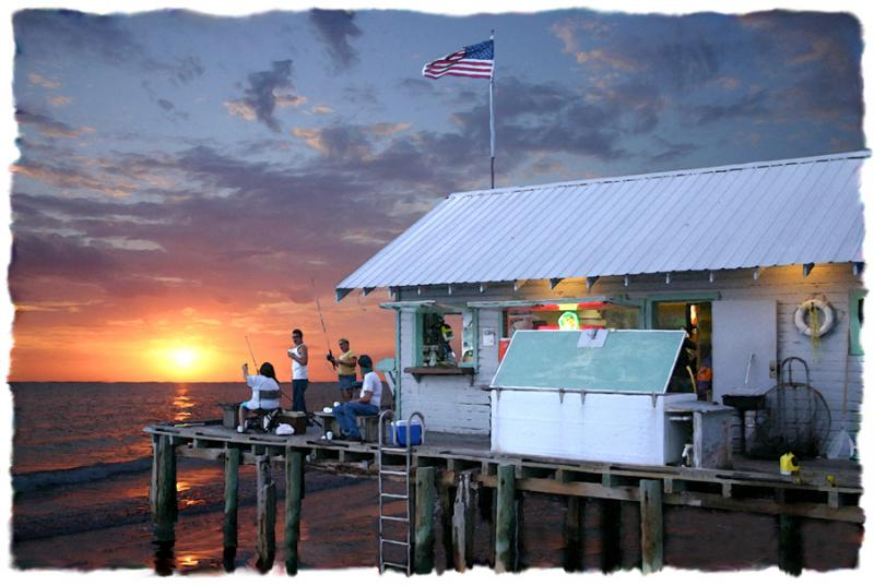 Evening at the dockside limited editions anna maria for Anna maria island fishing pier